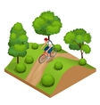 Biker in forest cycling on track from behind vector image vector image