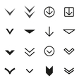 black Arrow buttons down icon set vector image vector image
