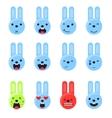 Bunny smile emoji set Emoticon icon flat style vector image vector image