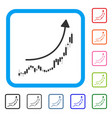 candlestick chart growth trend framed icon vector image vector image