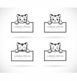 collection of black cartoon cats head with frame vector image vector image