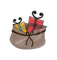 color crayon stripe cartoon of bag with christmas vector image