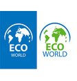 color label of eco earth on white and blue vector image vector image