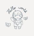 cute and happy boy say hello vector image vector image