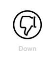 down thumb up down icon editable line vector image vector image