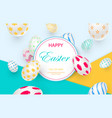 easter card with white decorated 3d eggs vector image