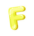 f yellow glossy bright english letter kids font vector image vector image