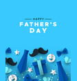 fathers day greeting card blue dad paper icons vector image