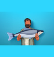 fisher holding big fish vector image vector image