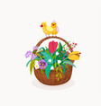 flower basket with two chickens on handle of vector image vector image