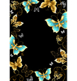 Frame with Gold Butterflies vector image vector image