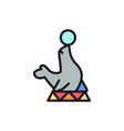 fur seal circus animal show flat color line icon vector image