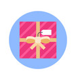 gift box top view icon on blue round background vector image