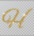gold glitter powder letter h in hand painted style vector image vector image