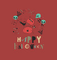 halloween with pumpkin and cat on red vector image vector image