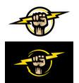 hand holds lightning logo on dark and light vector image