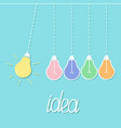 hanging colorful yellow light bulb switch on off vector image vector image