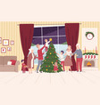 happy big family decorating christmas tree people vector image