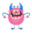 happy little pink monster alien character vector image vector image