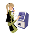 holding telephone vector image vector image