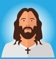 jesus like christian male face in flat style vector image vector image