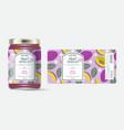 label packaging jar marmalade pattern red plum vector image vector image