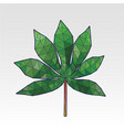 low poly cassava leaf triangular style vector image