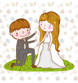man and woman wedding over leaves and flowers vector image vector image
