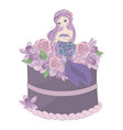 mermaid cake floral sweet princess vector image vector image