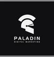 minimalist paladin logo spartan logo warrior logo vector image