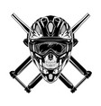 monochrome skull with helmet mask vector image