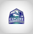 mountain explore hiking logo symbol badge vector image vector image