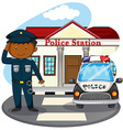 Policeman saluting in front of police station vector image vector image