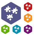 puzzle icons set vector image vector image