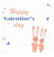 rabbits in love enamored funny rabbits on a date vector image