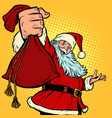 santa claus character gift bag christmas and new vector image vector image