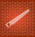 saw simple sign whitish icon on brick vector image