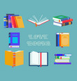 set isolated opened textbooks book with mark vector image