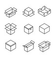 set of cardboard boxes from thin lines vector image vector image