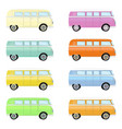 set of colorful retro travel buses cartoon hippie vector image