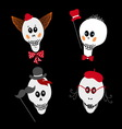 Set of cute skulls vector image