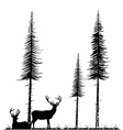 Silhouettes of two deers standing and lying under vector image