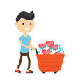 smiling happy young man with a cart vector image vector image