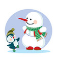 snowman in a green scarf and a little penguin in a vector image vector image