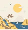 stencil style marine landscape vector image vector image