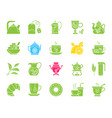 tea color silhouette icons set vector image vector image