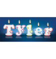 TYLER written with burning candles vector image vector image