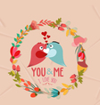 valentines day cute retro flowers wreath and bird vector image vector image