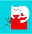 white cat holding big red merry christmas gift vector image