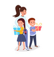 woman children with presents flat vector image vector image